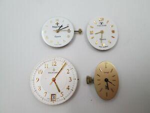 Lote 4 máquinas y esferas reloj pulsera mujer. Cuarzo. Gemas. Años 70. Suiza