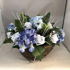 Garden Front Door Porch Artificial Hanging Basket Blue Hydrangea Roses Greenery