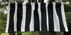 "Black & White Awning 3"" Stripe Beach Striped Curtain Valance Panel - You Choose"