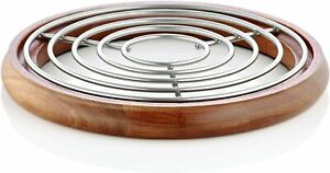 Sabatier Round Trivet, Satin Wire and Acacia Wood, 7 Inch - Silver Natural