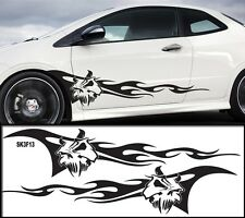 """Universal Car Skull Flames Pinstripe Racing Side Graphics Decals 55""""X12""""  SK3f3"""