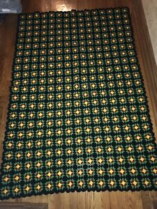 """Vintage Hand Made Crochet Granny Square Afghan Throw Lap Blanket 74"""" X 49"""""""