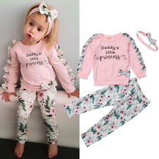 Newborn Kids Baby Girls Winter Clothes Floral Ruffle Tops Pants 3Pcs Outfits AU