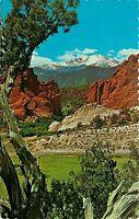 Chrome Postcard CO H097 1976 Cancel Pikes Peak Garden of the Gods Scalloped Edge