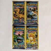 """4 Sealed Pokemon """"XY Evolutions"""" 3-Card Booster Packs - Unweighed - All 4 Arts"""