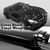 Auto Glossy Gloss Black Vinyl Wrap Film Car Stickers Decal W/ Air Bubble Free