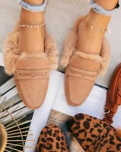 Women's Mules Flat Slippers Leather Fluffy Faux Fur Lining Pointed Toe Warm Shoe