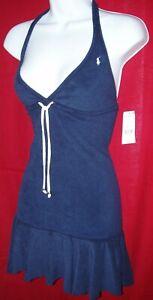 RALPH LAUREN WOMEN'S HALTER STYLE NAVY BLUE MINI DRESS SIZE STRETCHY XS NWT