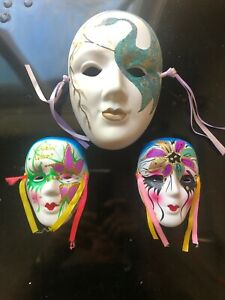 Vintage Ceramic Masguerade Mask Wall Decor NEW ORLEANS