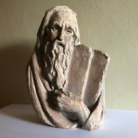 1967 Bergier Signed Moses Ten Commandments Sculpture Vintage