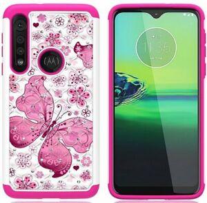 For Motorola Moto G8 Play /Moto One Macro - Hard Hybrid Diamond Bling Case Cover