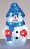 Premier 22cm LED Acrylic Snowman Christmas Light Battery 24 LED Indoor Use