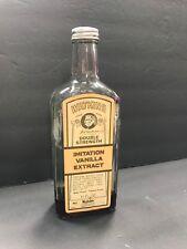 "Vintage J.R. Watkins 11 oz Vanilla glass bottle w label 8.5"" tall Kitchen watkin"