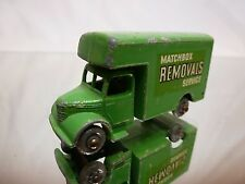 LESNEY 17 BEDFORD MATCHBOX REMOVALS SERVICE - GREEN outline decals RARE - GOOD