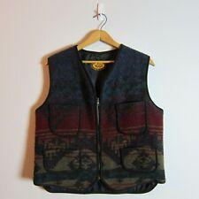 Vintage Woolrich Classic M Wool Blend Aztec Theme Zipper Front Pocket Lined Vest