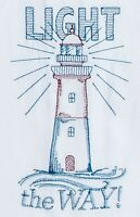 Light the Way Lighthouse Embroidered Flour Sack Kitchen Dish Towel