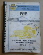 Clayson Mähdrescher M103 Ersatzteilliste