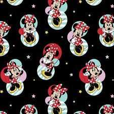 Disney Minnie Mouse Badges Stars Black Cotton Fabric Springs CP63695 By The Yard