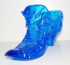 Vintage Blue Glass Fenton Shoe Figurine Beautiful Cat Design Nr