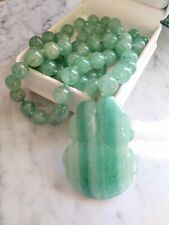 Vintage Aventurine Quartz Gemstones Carved Apple Chinese Export Beaded Necklace