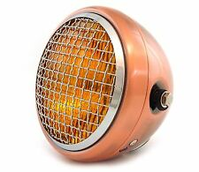 "6.5"" Side Mount Halogen Motorcycle Headlight w/ Grill - Bronze Chrome Amber"
