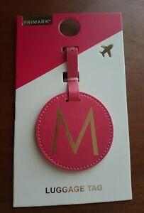 "PRIMARK LONDON LEATHER ""M"" MONOGRAM LUGGAGE TAG-pink"
