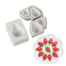 3 Pcs Strawberry Fruit Silicone Mold Fondant Chocolate Candy Cake Clay Mould DIY