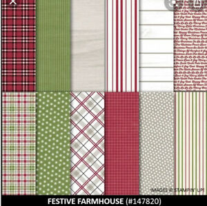 Rare New Stampin' Up! Festive Farmhouse 12- 12 x 12 DSP Paper Christmas Holiday