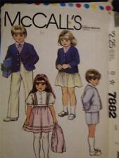 Sewing Pattern No 7882 McCalls Childrens Jacket Skirt Pants Shorts Cut Size 3