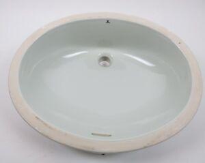 Vintage Bathroom Sink Sage Light Blue Undermount Unglazed rim Pantone 7541 C