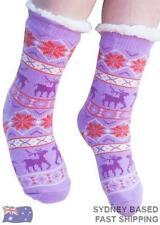 Ladies Sherpa Lined Socks SLUMBIES Purple Slipper sock Authentic