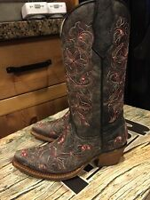 New Kids Corral Vintage Cowboy Western Boots A1027 Black Pink Flower Size 2.5
