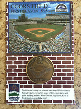 Original Coors Field Colorado Rockies Baseball 1st Season Commemorative Coin '95