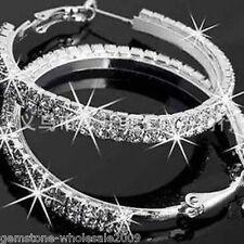 1Pair Ladies Luxury Chic Elegant Diamond Rhinestone Big Hoop Earrings Jewelry GW