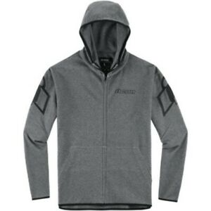 Icon Men's Overlord Hoody Hoodie Dark Charcoal Gray Zip-Up Zip Front Sweatshirt