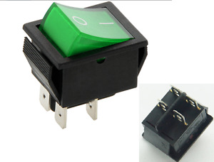 Rocker Switch 16A 240V, 20A 125V Green ON-OFF Double Pole 4 Pin  ILLUMINATED C2