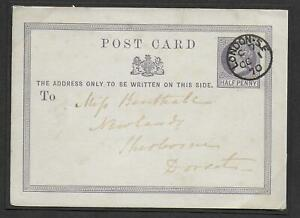 Rare 1870 First Day of Use of the ½d violet Post Office Postcard on October 1st.