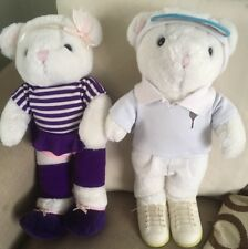 Baby Club 16' Teddy Bears X2 With Clothes Ballerina & Tennis Player 1974