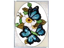 10x14 BLUE BUTTERFLY Stained Art Glass Floral Suncatcher