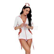 3Pc Women's Nurse Doctor Uniform Costume Lingerie Cosplay Fancy Dress Outfits