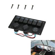 Car Boat 6-Gang Rocker Panel Switch +Cigarette Lighter Socket Voltmeter USB CA00
