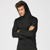 Men's Fitness Hoodie Hooded Workout Gym Sweatshirt Tops Long Sleeve Solid Color