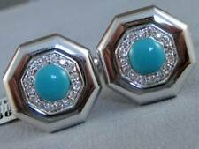 MODERN PAVE DIAMOND TURQUOISE 14K WHITE GOLD OCTOGON MENS CUFFLINKS 17M U32471P2