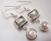 Cultured Pearl and Faceted Green Amethyst 925 Sterling Silver Dangle Earrings
