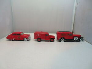 Three Vintage Solido Fire Vehicles Cadillac, Dodge and Chevrolet