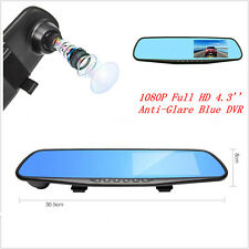 "4.3""1080P HD Anti-Glare Blue Rearview Mirror Driving Video Recorder Car Dash Cam"