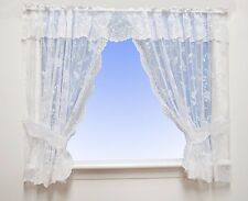Robyn - Floral Net Curtain Window Kitchen Set In White - Voile & Net Curtains