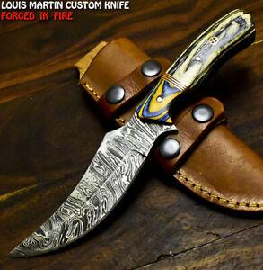 Louis Martin Custom Handmade Damascus Steel Hard Wood Hunting Skinner Knife