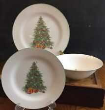 Trisa Christmas Tree Stoneware Trs11 Green Trim Plate, Bowl, or Serving Pieces