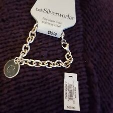 "BUY NOW! NEW TAG SILVERWORKS FINE SILVER BRACELET w/ ""C"" CHARM"